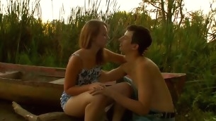 Breathtaking legal years teenager couple are having steamy hawt sex at the lakeside