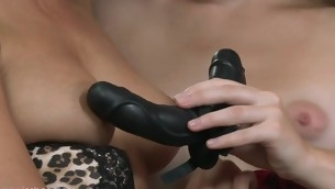 Pleasing caressing and wild sex-toy play involving fetching auntie women