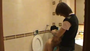 Legal Age Teenager fucking takes place in a pygmy washroom with a hot blond