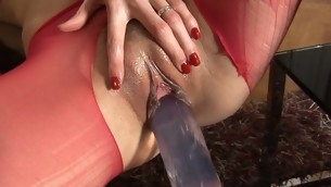 Tough beauty is delighting her twat with a huge toy