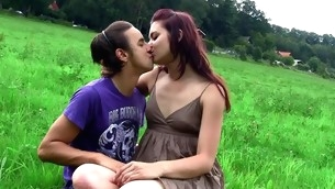 Filthy dark brown undresses and gets fucked by fuckmate on the grass