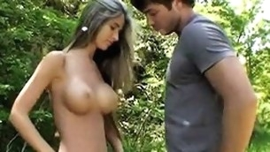 Hugecocked fashionable fellow seduces this lovely big tittied legal age teenager to fuck outdoors